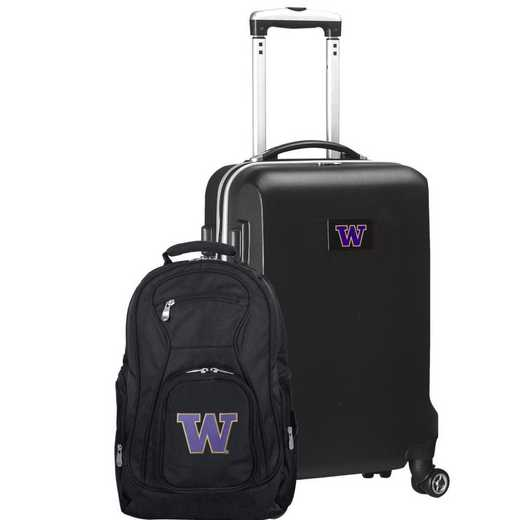 CLWAL104-BLACK: Washington Huskies Deluxe 2PC BP / Carry on Set
