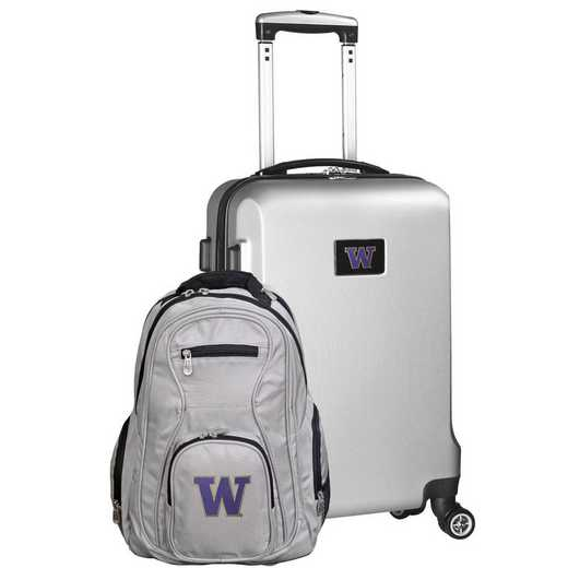 CLWAL104-SILVER: Washington Huskies Deluxe 2PC BP / Carry on Set