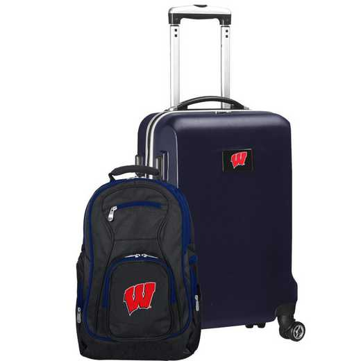 CLWIL104-NAVY: Wisconsin Badgers Deluxe 2PC BP / Carry on Set
