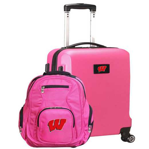 CLWIL104-PINK: Wisconsin Badgers Deluxe 2PC BP / Carry on Set