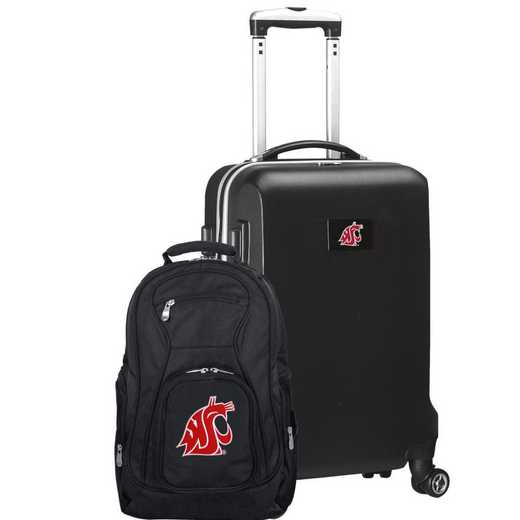 CLWSL104-BLACK: Washington State Cougars Deluxe 2PC BP / Carry on Set