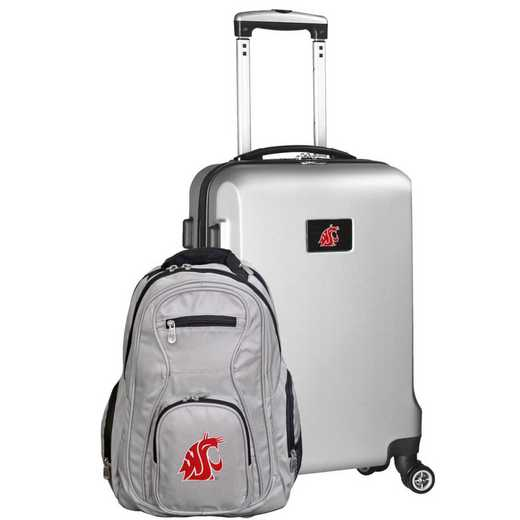 CLWSL104-SILVER: Washington State Cougars Deluxe 2PC BP / Carry on Set