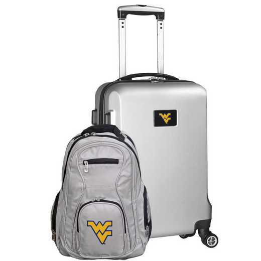 CLWVL104-SILVER: West Virginia Mountaineers Deluxe 2PC BP / Carry on Set