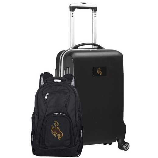 CLWYL104-BLACK: Wyoming Cowboys Deluxe 2PC BP / Carry on Set