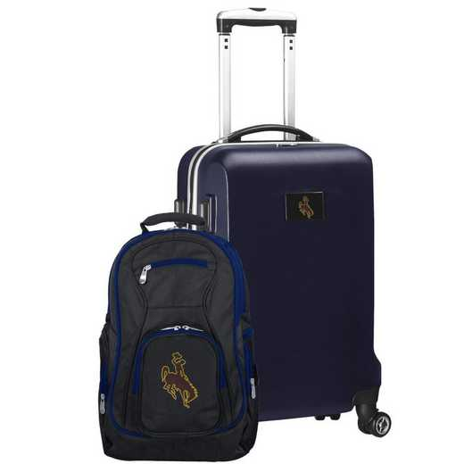 CLWYL104-NAVY: Wyoming Cowboys Deluxe 2PC BP / Carry on Set