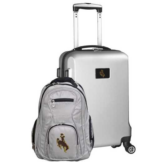 CLWYL104-SILVER: Wyoming Cowboys Deluxe 2PC BP / Carry on Set