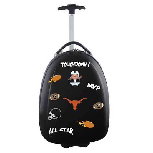 CLTXL601-BLACK: NCAA Texas Longhorns Kids Luggage Black