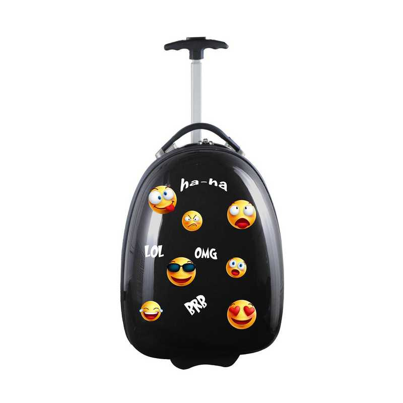 GEZZL601-BLACK: Emoji Kids Pod Luggage In Black