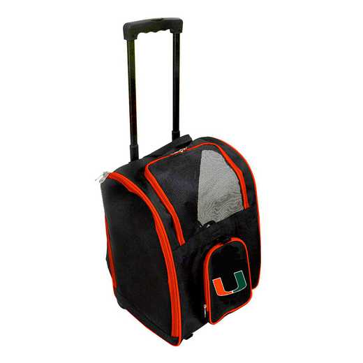 CLMUL902: NCAA Miami Hurricanes Pet Carrier Premium bag W/ wheels