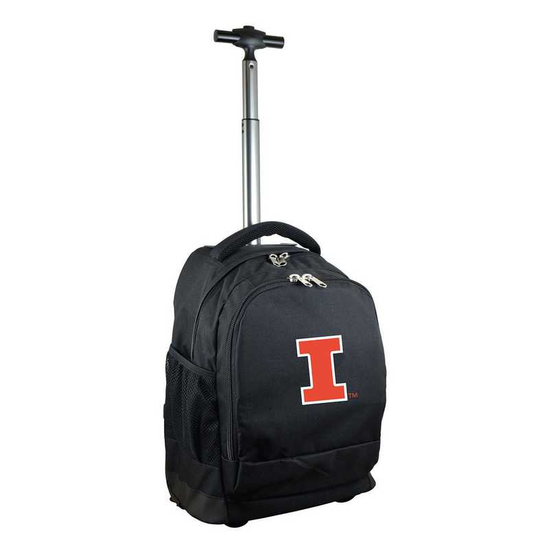 CLILL780-BK: NCAA Illinois Fighting Illini Wheeled Premium Backpack