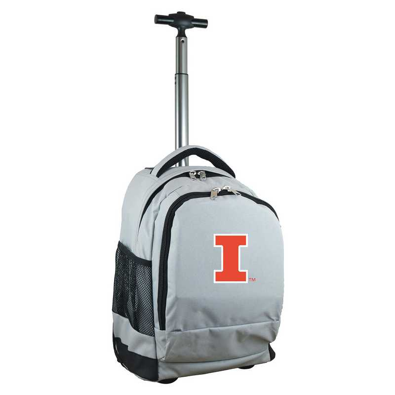 CLILL780-GY: NCAA Illinois Fighting Illini Wheeled Premium Backpack