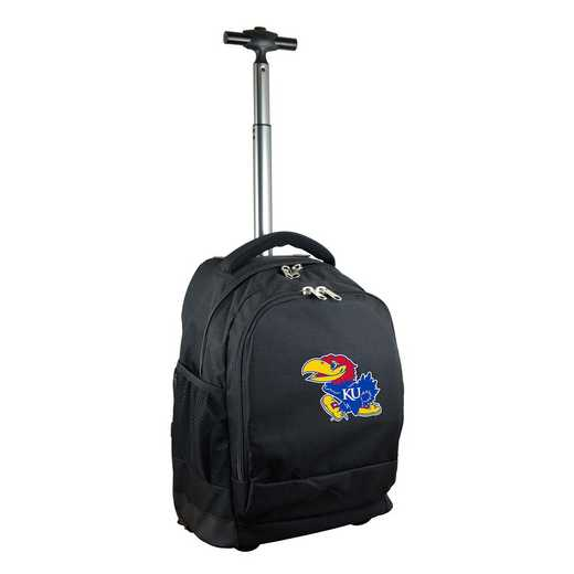 CLKUL780-BK: NCAA Kansas Jayhawks Wheeled Premium Backpack