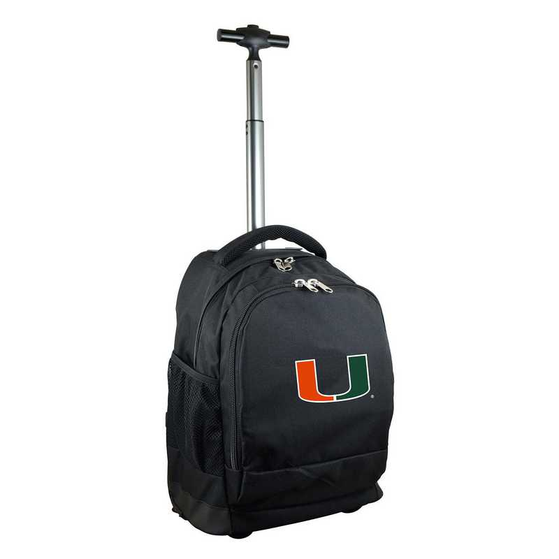 CLMUL780-BK: NCAA Miami Hurricanes Wheeled Premium Backpack
