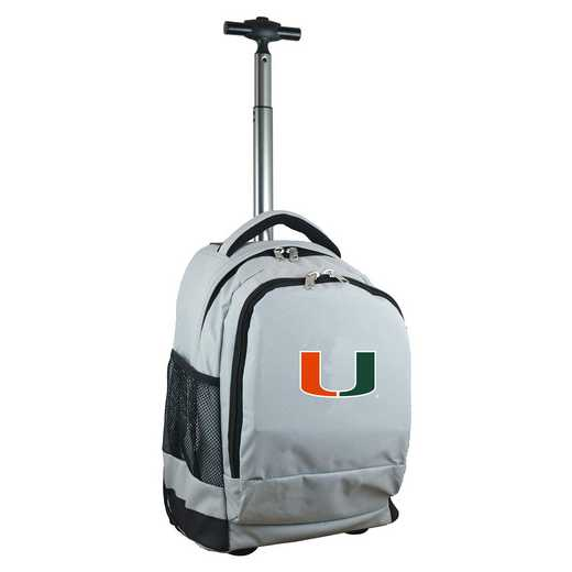 CLMUL780-GY: NCAA Miami Hurricanes Wheeled Premium Backpack