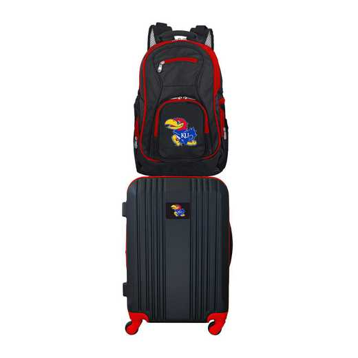 CLKUL108: NCAA Kansas Jayhawks 2 PC ST Luggage / Backpack
