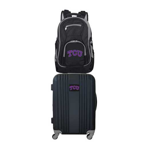 CLTCL108: NCAA TCU Horned Frogs 2 PC ST Luggage / Backpack