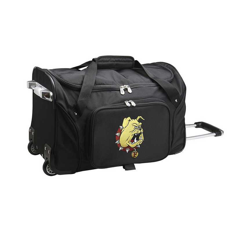 CLFEL401: NCAA Ferris State Bulldogs 22IN WHLD Duffel Nylon Bag