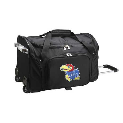 CLKUL401: NCAA Kansas Jayhawks 22IN WHLD Duffel Nylon Bag