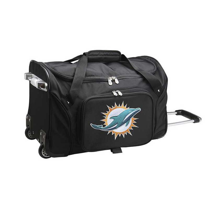 NFMDL401: NFL Miami Dolphins 22IN WHLD Duffel Nylon Bag