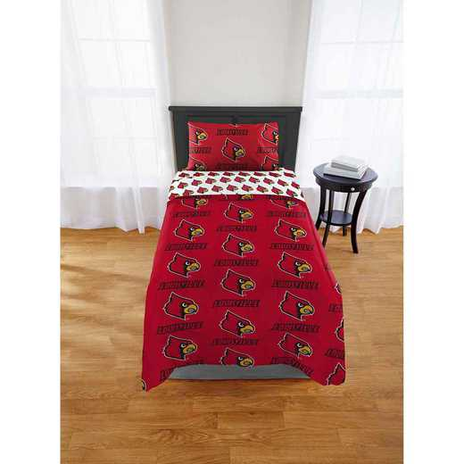 1COL808000072EDC: COL 808 Louisville Cardinals Twin Bed In a Bag Set