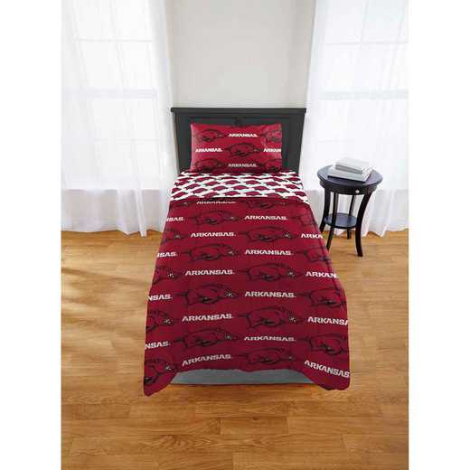 1COL863000014EDC: COL 863 Arkansas Razorbacks Twin/XL Bed In a Bag Set