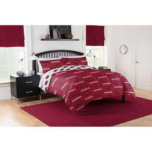1COL875000014EDC: COL 875 Arkansas Razorbacks Queen Bed In a Bag Set