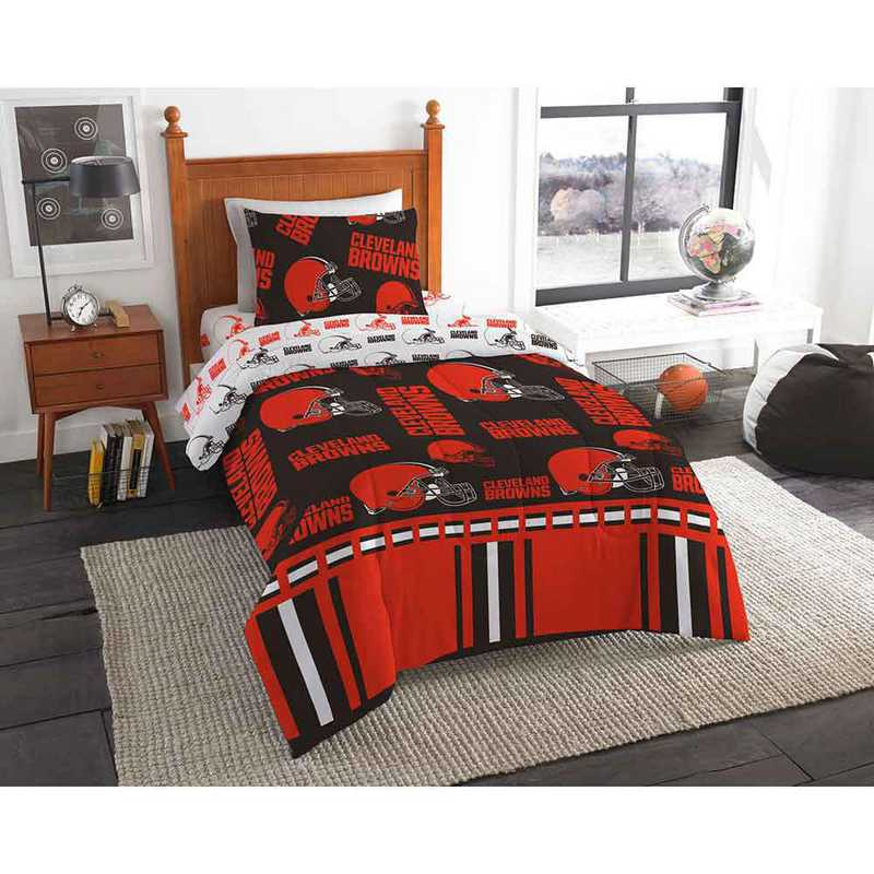 1NFL808000005EDC: NFL 808 Cleveland Browns Twin Bed In a Bag Set