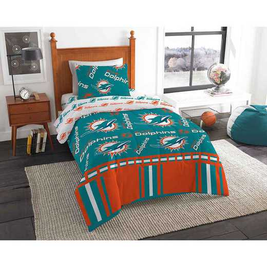 1NFL808000010EDC: NFL 808 Miami Dolphins Twin Bed In a Bag Set