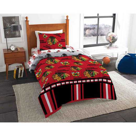 1NHL808000004EDC: NHL 808 Chicago Blackhawks Twin Bed In a Bag Set