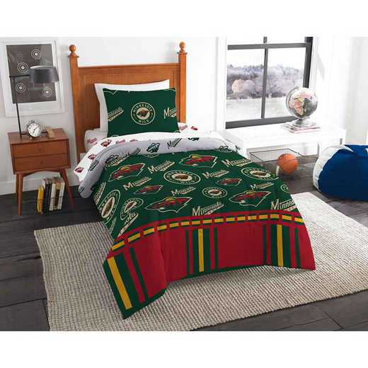 1NHL808000032EDC: NHL 808 Minnesota Wild Twin Bed In a Bag Set