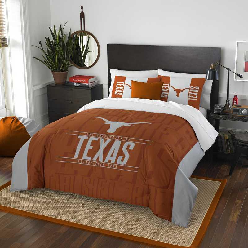 . Texas Longhorns Gametime Full Queen Comforter   Sham Set