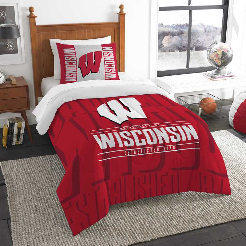 1COL862000003RET: NW NCAA Twin Comforter Set, Wisconsin
