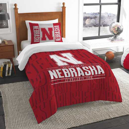 1COL862000006RET: NW NCAA Twin Comforter Set, Nebraska