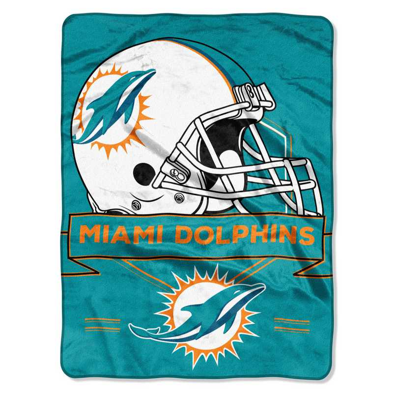 1NFL080710010RET: NW NFL Prestige Raschel Throw, Dolphins