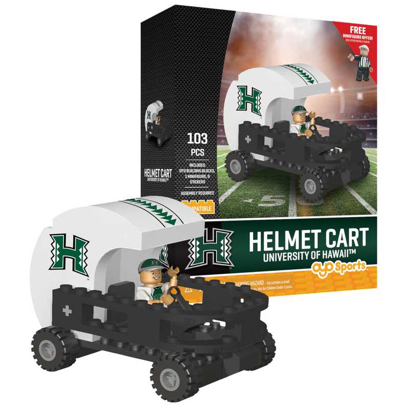 P-CFBHAWHC-G2PS: Helmet Cart Hawaii Rainbow Warriors103pc Building Block Set