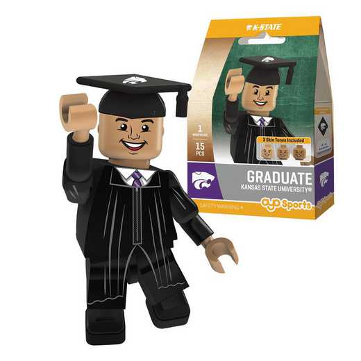 P-CFBKSUGM-G1GT: OYO GraduateMale Graduate OYO minifigureKansas St Wildcats