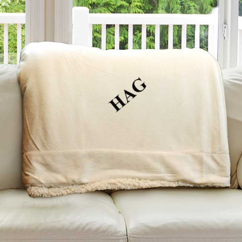 E11547184CR: Cream Fleece  Sherpa Blanket 50 x 60