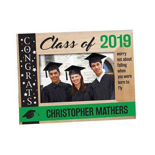 9126261GN: PGS Engraved class Of  wood Frame Green, 4x6