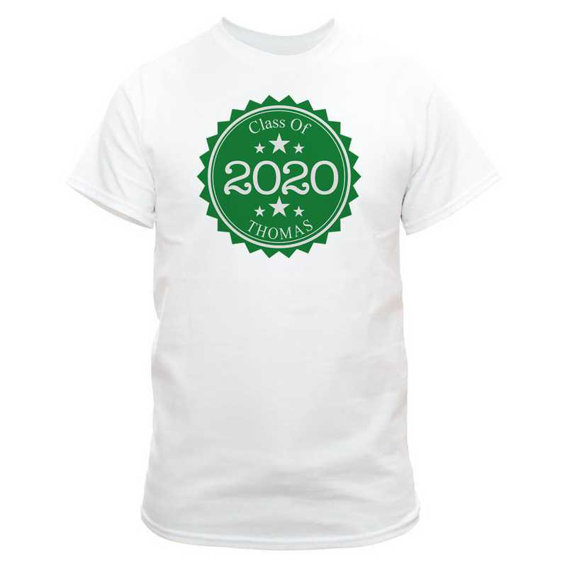 Class Of Graduation T-Shirt White with Dark Green Design