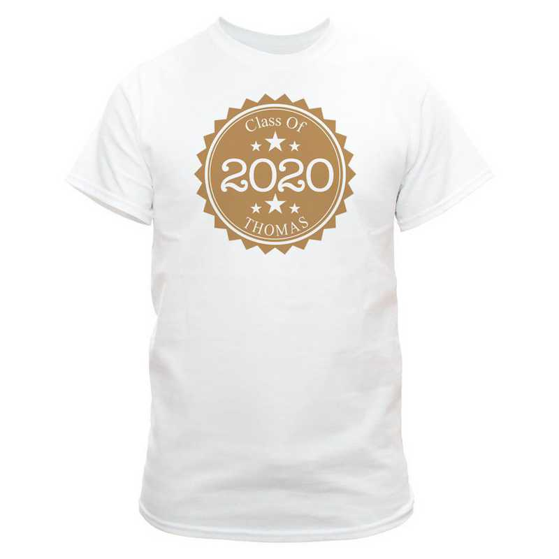 Class Of Graduation T-Shirt White  with Gold Design