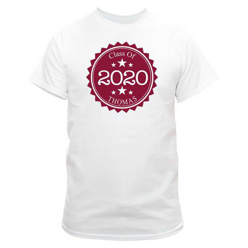 Class Of Graduation T-Shirt White  with Maroon Design