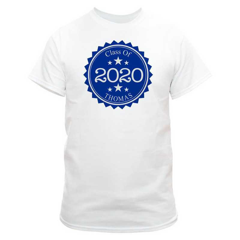 Class Of Graduation T-Shirt White with Navy Design