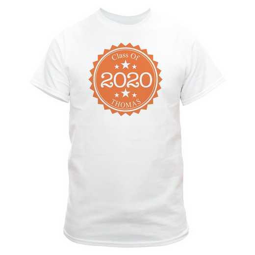 Class Of Graduation T-Shirt White  with Orange Design