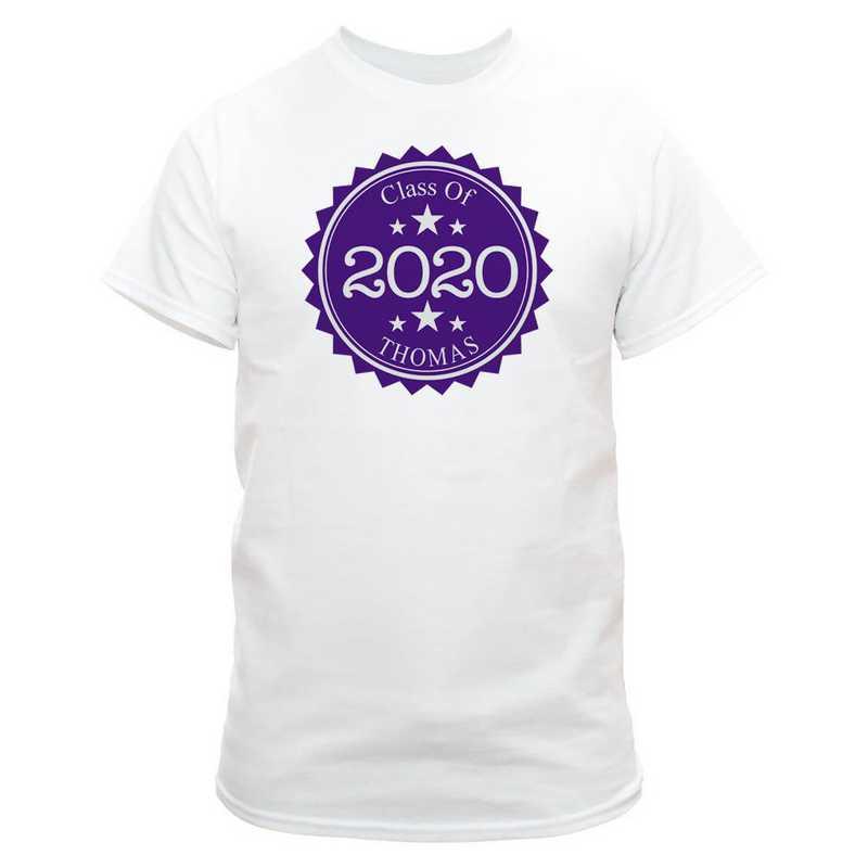 Class Of Graduation T-Shirt White with Dark Purple Design