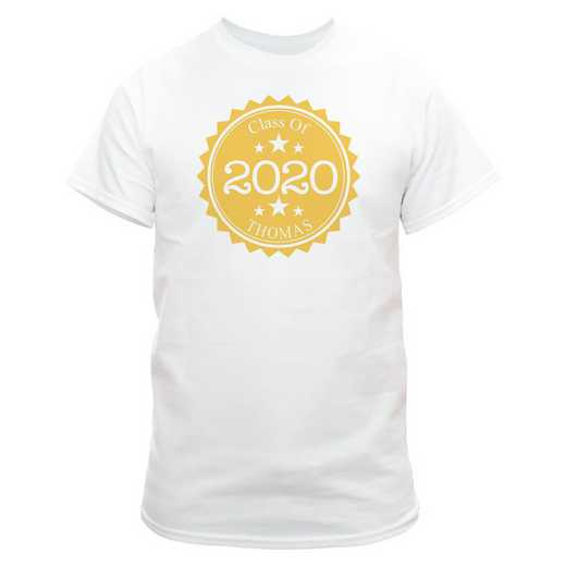 Class Of Graduation T-Shirt White  with Yellow Design
