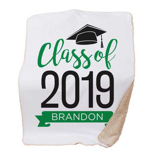 BALU1400687GR: PGS Grad hat with Banner Throw Green