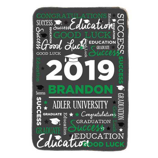 U1400887GN: PGS Word Art Grad Throw Green