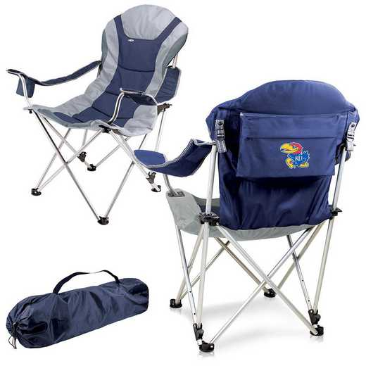 803-00-138-244-0: Kansas Jayhawks - Reclining Camp Chair (Navy)