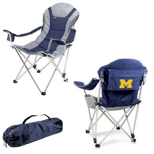 803-00-138-344-0: Michigan Wolverines - Reclining Camp Chair (Navy)