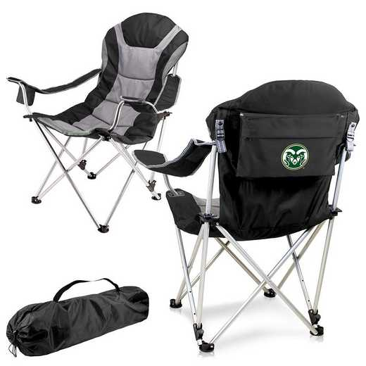 803-00-175-134-0: Colorado State Rams - Reclining Camp Chair (Black)
